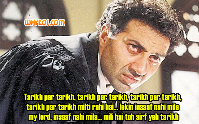 Sunny deol dialogues from the hindi movie Damini