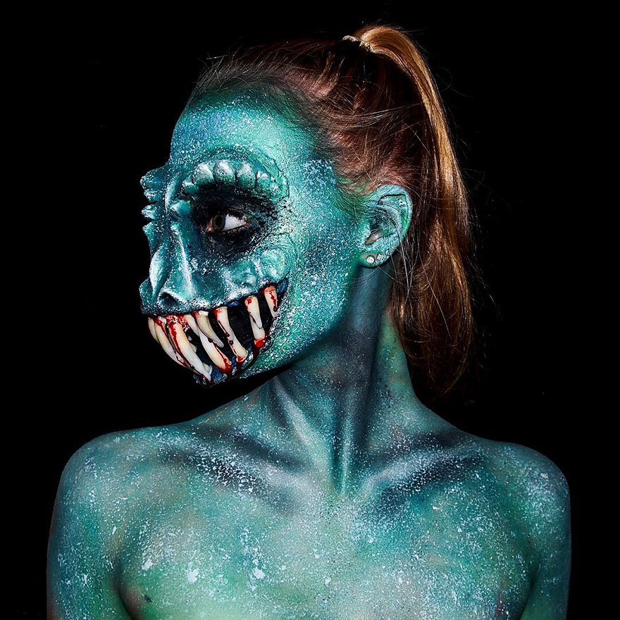 16 Year Old Australian Girl Who Paints Herself In Monstrous Outlooks 15