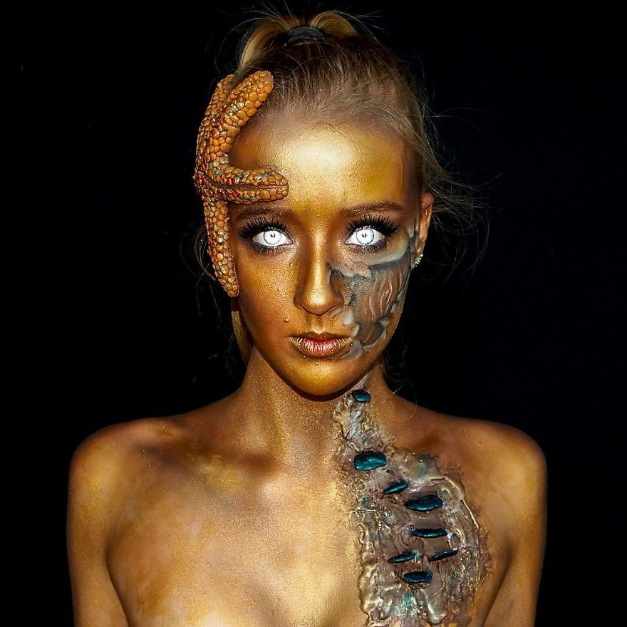 16 Year Old Australian Girl Who Paints Herself In Monstrous Outlooks 6