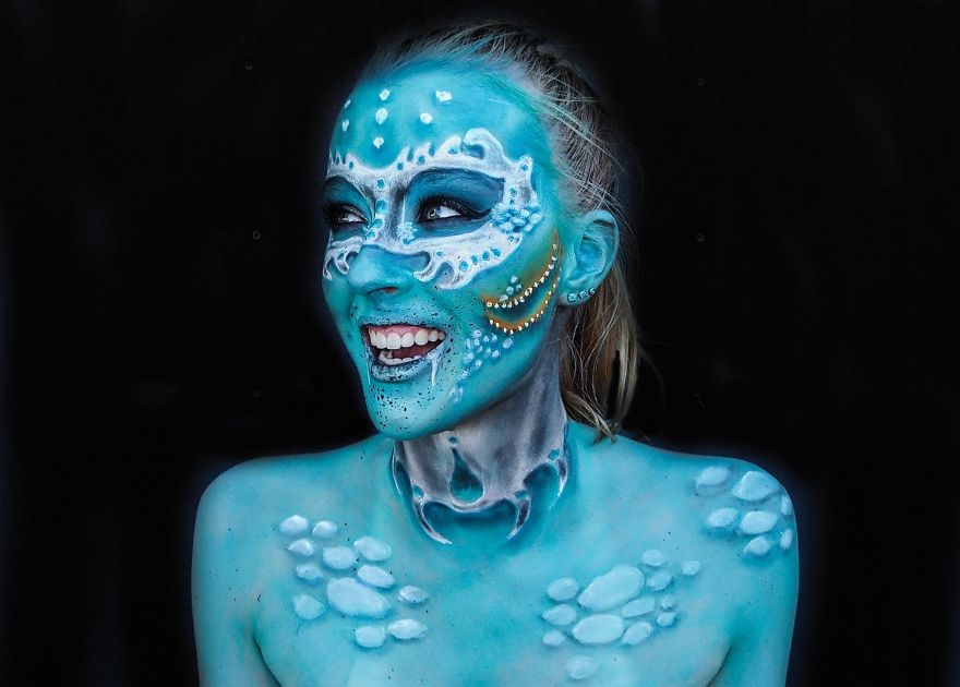 16 Year Old Australian Girl Who Paints Herself In Monstrous Outlooks14