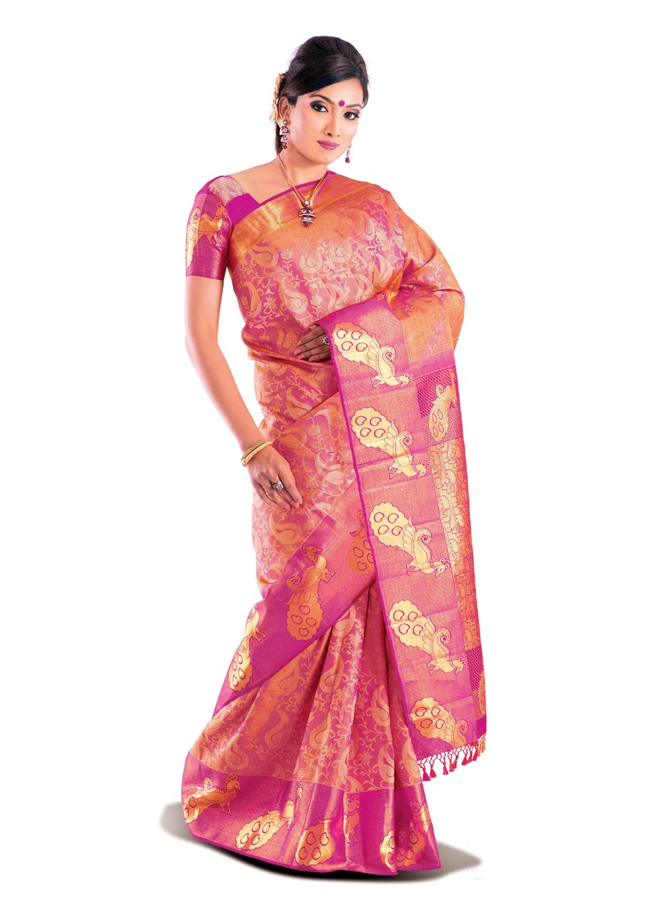 Wedding Pink Bridal Brocade Sarees