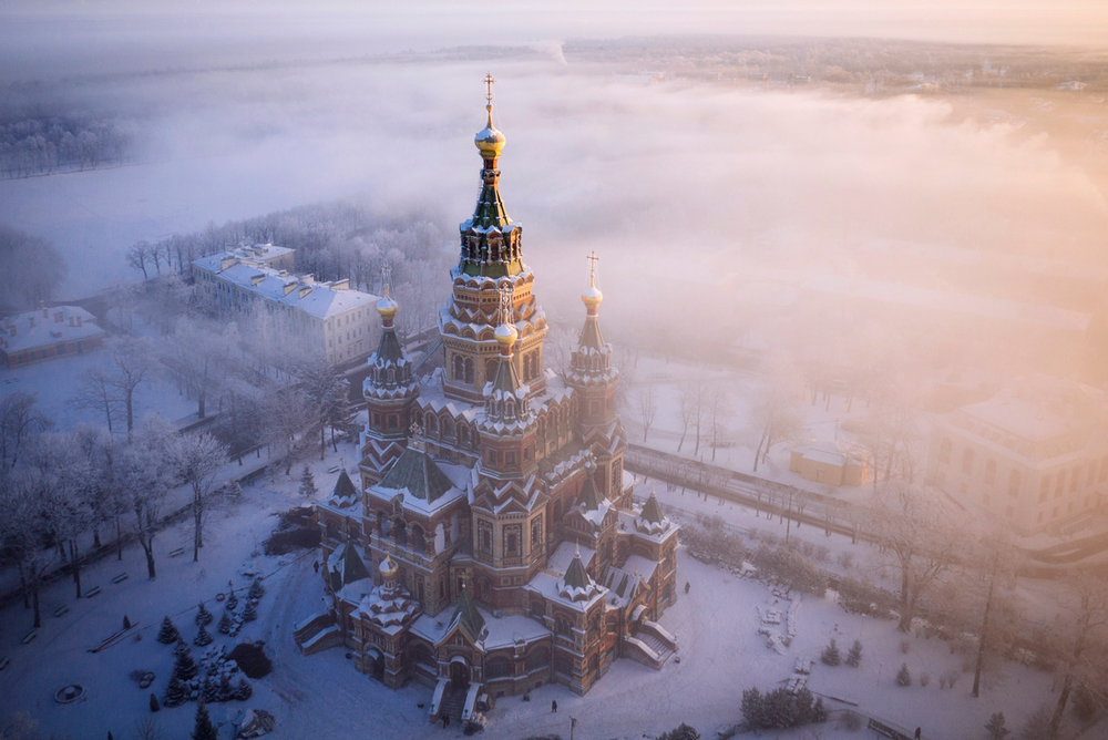 Drone saint petersburg saint peter paul cathedral