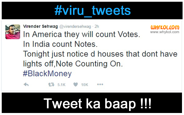 Virendar Sehwag Funny Tweets | India Abolishes RS 500 and RS 1000 Notes